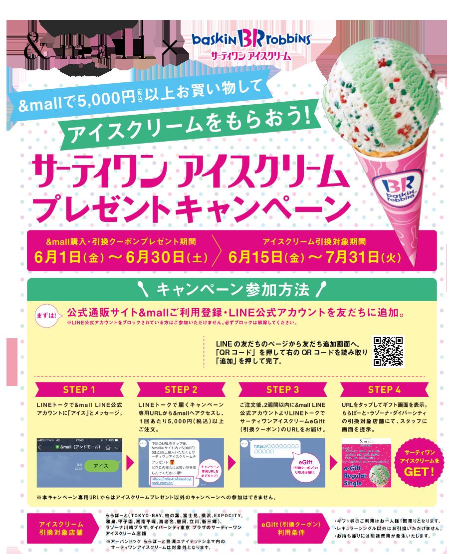 &mallで5,000円(税込み)以上お買い物して アイスクリームをもらおう! サーティワン アイスクリーム プレゼントキャンペーン