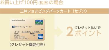 お買い上げ100円(税抜)の場合 三井ショッピングパークカード《セゾン》(クレジット機能付き)クレジット払いで2ポイント