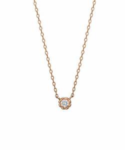 ダイヤモンド一粒ネックレス0. 03ct( PG)