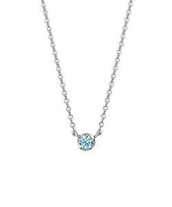 アイスブルーダイヤモンド一粒ネックレス0.07ct