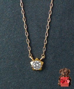【限定ベアBOX付】K18 ステッリーナ 一粒ダイヤモンドネックレス 0.05ct