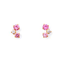 【K10ピンクゴールド】ピンクストーン ピアス