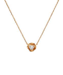 【K10ピンクゴールド】ダイヤモンド ローズ ネックレス