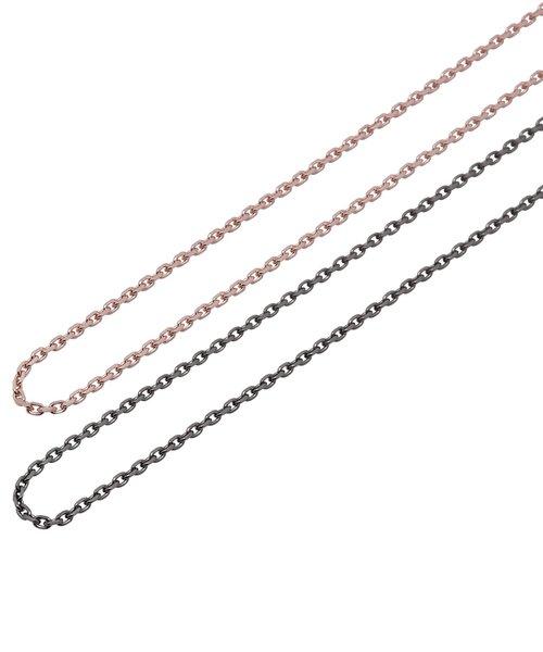 ピンクゴールドメッキ&ブラックロジウムメッキ シルバー ペア チェーン