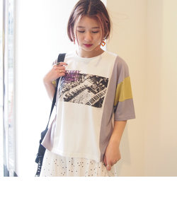 カラーブロックフォトプリントTシャツ