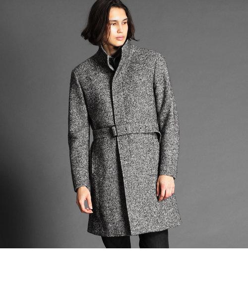 ウール混スタンドカラーコート