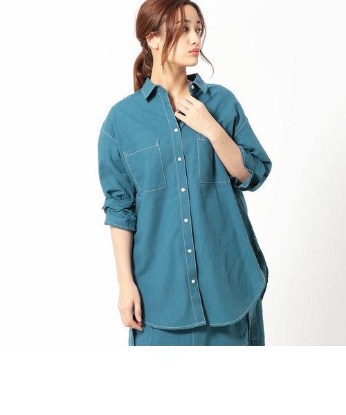 袖ツイストロングシャツ