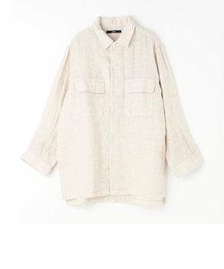 フラップポケット綿麻シャツ