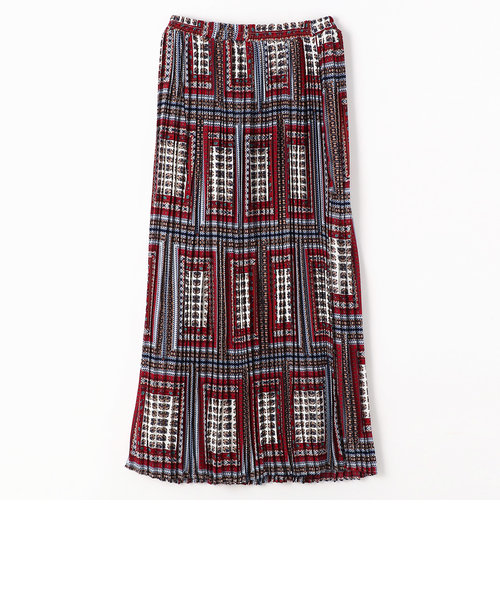 ボックス柄ロング丈プリーツスカート