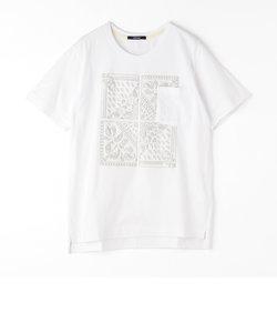バンダナ刺繍クルーネックTシャツ