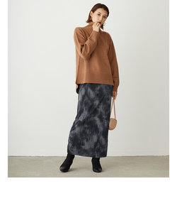 ボカシ柄プリーツタイトスカート