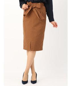 <ハンドウォッシュ>【destyle】ストレッチツイル ウエストリボンフロントスリットタイトスカート