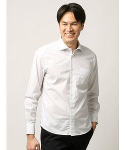 【ETONNE】製品洗い フラワー小紋プリントホリゾンタルカラーシャツ