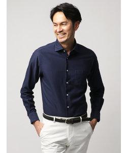 【ETONNE】製品洗い カラミ織りホリゾンタルカラーシャツ