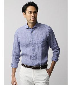 【ETONNE】製品洗い ギンガムチェック柄ホリゾンタルカラーシャツ
