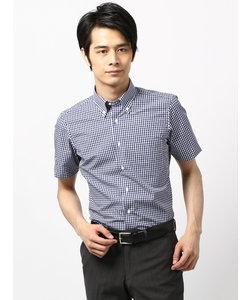 【半袖】ボタンダウンカラードレスシャツ ギンガムチェック〔EC・CLASSIC SLIM-FIT〕