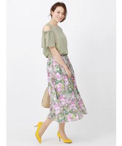 【ハンドウォッシュ】サテンボタニカルプリントギャザースカート