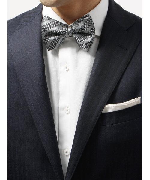 【blazer's bank.com】ストライプ×織柄シルク蝶ネクタイ