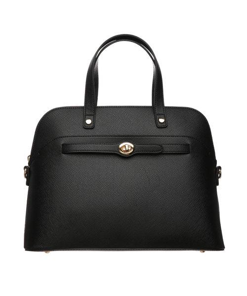 【destyle】サフィアーノ調型押し ベルテッドハンドバッグ
