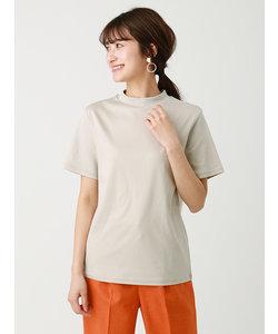 <ウォッシャブル・消臭>【Littlechic】スーピマバイオ モックネック半袖Tシャツ