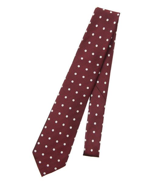 【セッテピエゲ】ドット×織柄ネクタイ