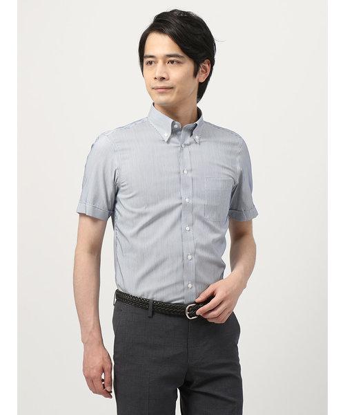 【半袖・3BLOCK SHIRT】ボタンダウンカラードレスシャツ ストライプ 〔EC・BASIC〕