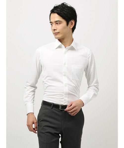 <ノンアイロンジャージー素材>【WE SUIT YOU】ワイドカラードレスシャツ 織柄