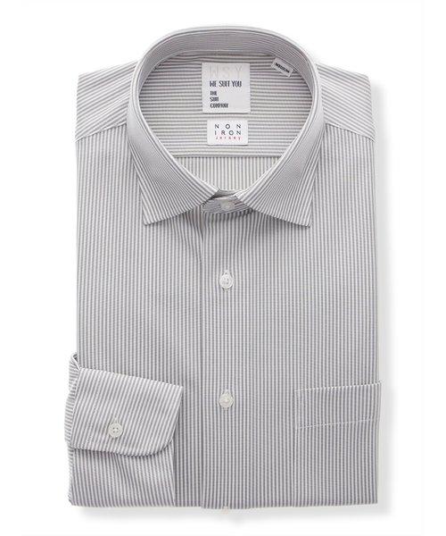 WE SUIT YOU/ノンアイロンジャージー素材/ワイドカラードレスシャツ ストライプ