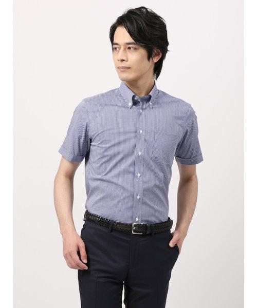 【半袖・COOL MAX】ボタンダウンカラードレスシャツ ギンガムチェック 〔EC・BASIC〕