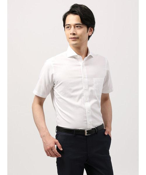 【半袖・NON IRON STRETCH】ホリゾンタルカラードレスシャツ 〔EC・BASIC〕