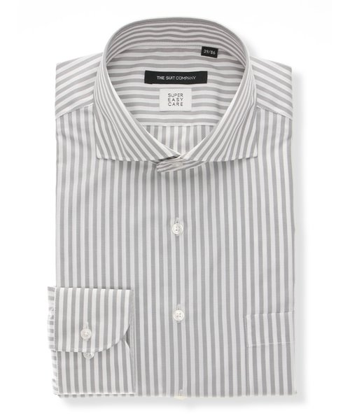 【COOL MAX】ホリゾンタルカラードレスシャツ ストライプ 〔EC・BASIC〕