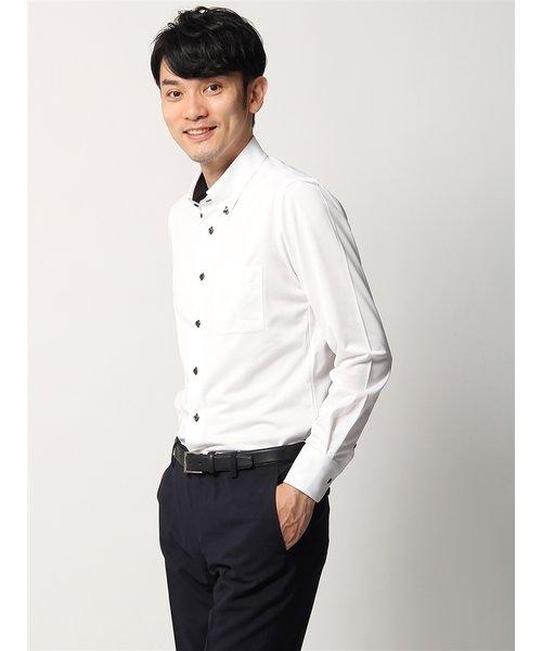 WE SUIT YOU/ノンアイロンジャージー素材/ボタンダウンカラードレスシャツ 織柄
