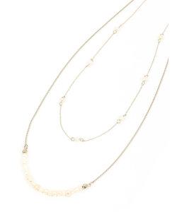 destyle/ゴールドチェーン×パール 2連ネックレス