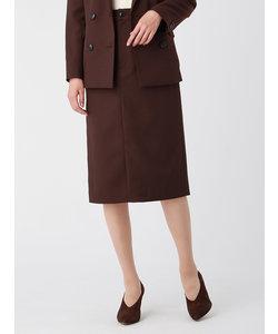ウォッシャブル/ツイルストレッチ フロントスリットタイトスカート