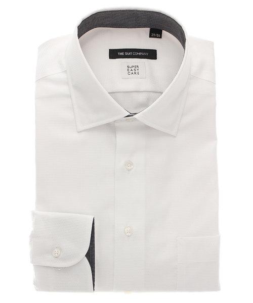 BASIC/SUPER EASY CARE/THERMO LITE/ワイドカラードレスシャツ 織柄
