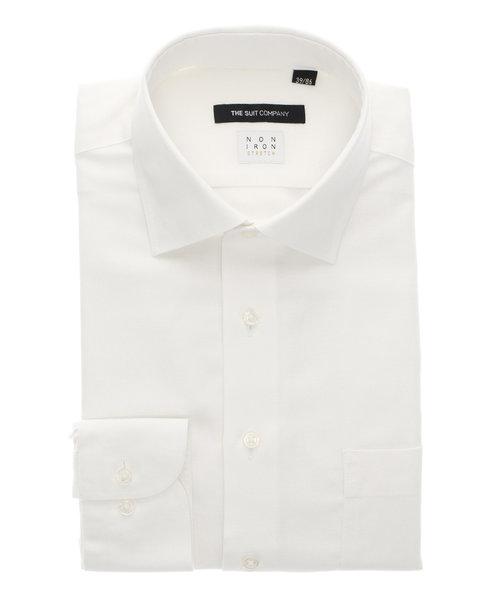 BASIC/NON IRON STRETCH/ワイドカラードレスシャツ ヘリンボーン