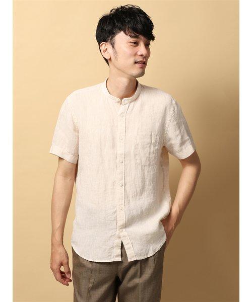 blazer's bank.com/ウォッシャブル/ピュアリネン 半袖バンドカラーシャツ