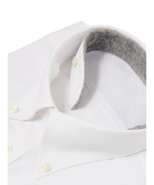 FIT/QUICK TOUCH/ボタンダウンカラードレスシャツ 織柄