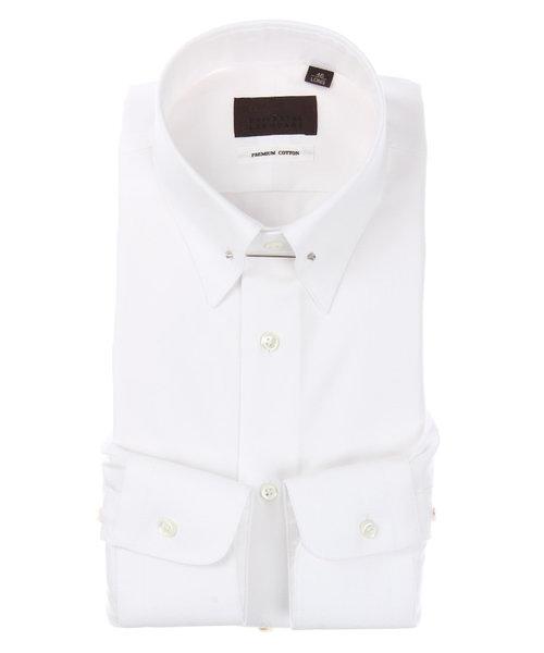 ピンホールカラードレスシャツ 織柄