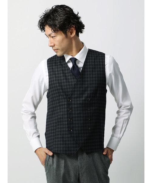 【CORSINI】ギンガムチェック柄×片畦編みダブルブレストニットジレ