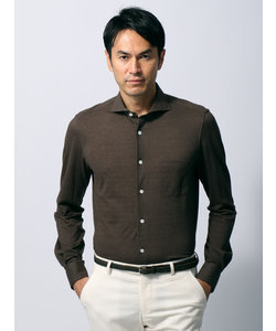 ≪JAPAN FABRIC≫鹿の子編み ホリゾンタルカラーシャツ
