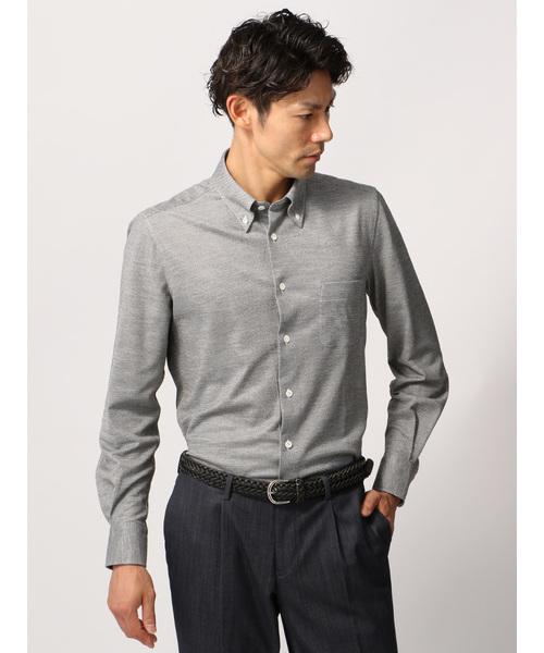 ≪JAPAN FABRIC≫【COOL MAX】リネン混鹿の子ボタンダウンカラーシャツ