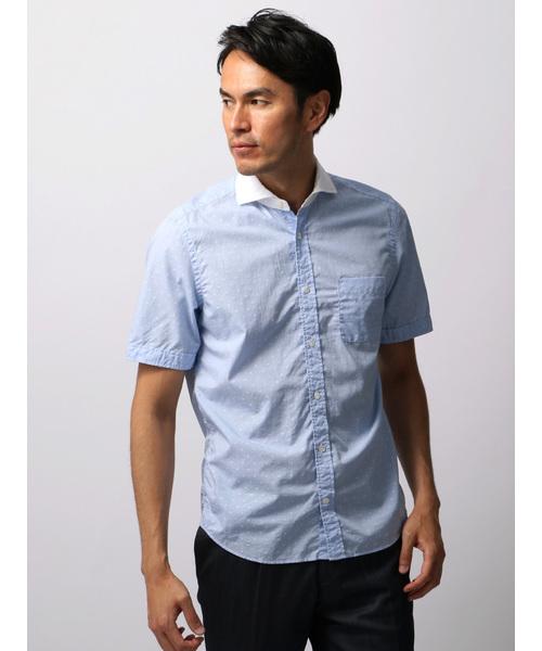 製品洗い 小紋×チェック柄クレリックカラー半袖シャツ