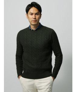 【ETONNE】カシミヤクルーネック組織柄セーター