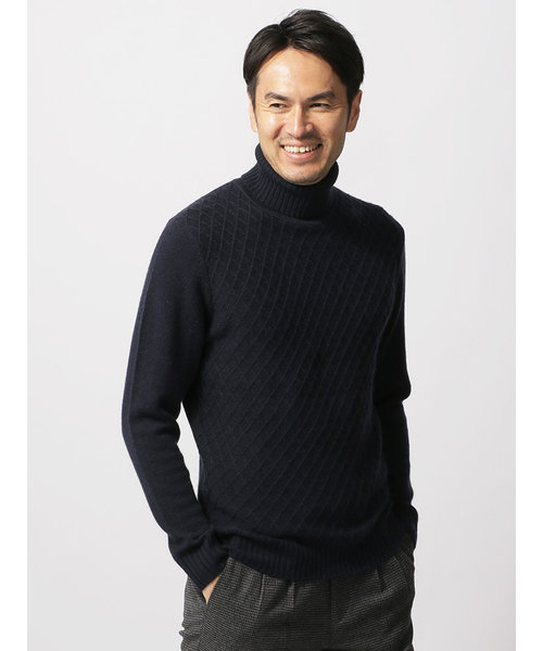 【ETONNE】ウールカシミヤ ダイヤ柄タートルネックセーター