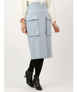 【ハンドウォッシュ】起毛ストレッチパッチポケットハイウエストタイトスカート
