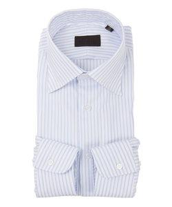 ワイドカラードレスシャツ ストライプ×織柄