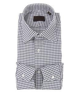 ワイドカラードレスシャツ チェック