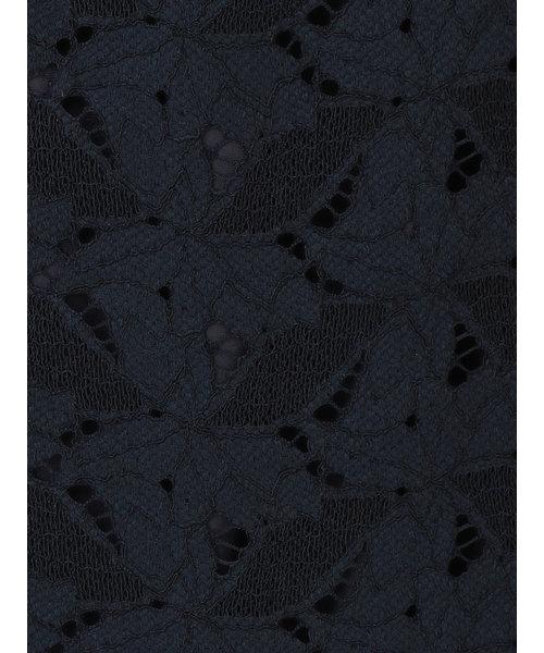 【Yangany】コットンブレンド リーフ柄レースタイトスカート