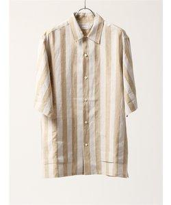 DAyS/ウォッシャブル/ピュアリネン ボールドストライプ柄レギュラーカラー半袖シャツ